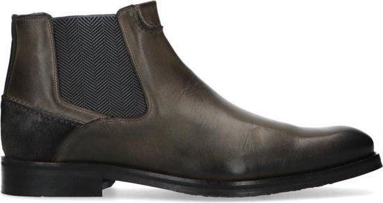 Manfield - Heren - Grijze leren chelsea boots - Maat 44