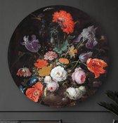 HIP ORGNL Stilleven met bloemen en een horloge - Mignon   rond schilderij   wandcirkel   muurcirkel   ronde oude meesters   ⌀  60 cm   wanddecoratie   kunstwerken   dibond   aluminium