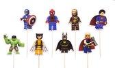 Lego Marvel Avengers | 24 stuks | cocktail prikker | cupcake decoratie | prikkers met versiering | taart versiering