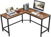 MIRA Home - Laptoptafel - Computerbureau - Vintage - Hout/Metaal - Bruin/zwart - 135x50x75