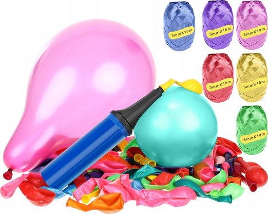 XXL Ballonnen Set - Met 6 Ballonlinten & 120 Gekleurde Metallic Ballonnen - Party Balloons Met Ballonpomp