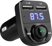 EQ FM Transmitter Bluetooth - Draadloze Carkit - 2x Fastcharger USB Poort - Handsfree Bellen - Voor Alle Telefoons - FM Transmitter Auto