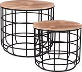 Ronde Bijzettafel Set Van 2 - Metalen Salontafel Basket Koffie Tafel Draadstaal Metaal & Hout - plaids in te bewaren - opbergmand - verwijderbaar blad - stabiel