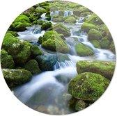 Mossige Stenen Waterval  | Wanddecoratie | 100CM x 100CM | Schilderij | Foto op plexiglas | natuur | Landschappen