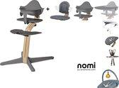 NOMI highchair kinderstoel complete set vanaf de geboorte Basis eiken wit oiled en stoel grijs