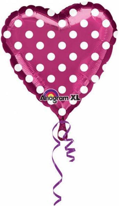 Helium Ballon Hart Fuchsia met stippen 45cm leeg