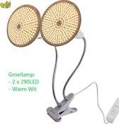 Ortho LED **NIEUW** Groeilamp Bloeilamp Kweeklamp Grow light groei lamp (met 2 upgraded 290 LED Full spectrum WARM WIT lampen) met 2 flexibele lamphouders - klem spotje