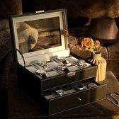 Decopatent® XXL Luxe horlogebox voor 20 horloges - Horloge box voor Dames en Heren horloges - Grote horlogedoos - Horlogekist