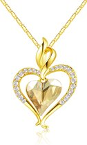 Rose Gold 14K Hart Ketting - 40cm + 5cm