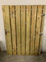 Schuttingdeur tuindeur grenen incl stalen frame en RVS cilinderslot 130 x 180 (rechtsdraaiend)