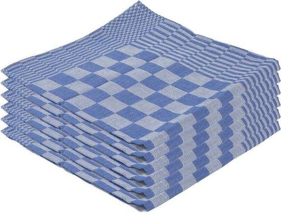 12x Theedoek blauw met blokmotief 65 x 65 cm - Huishoudtextiel - Afdroogdoek / keukendoek / vaatdoek