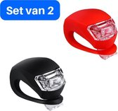 Set van 2 Siliconen LED Fiets Lampjes - Achterlicht - Voorlicht - Verlichtingsset - Koplamp - Fietslamp - Fietslicht - Koubestendig - Waterdicht - Rood - Zwart - inclusief batterijen