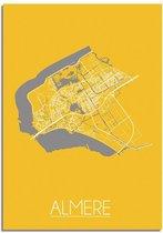 Plattegrond Almere Stadskaart Poster DesignClaud - Geel - A4 poster
