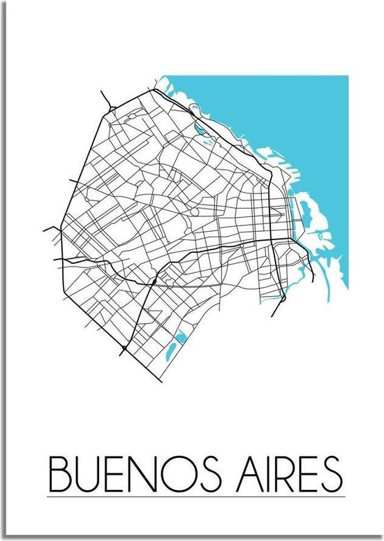 Plattegrond Buenos Aires Stadskaart Poster DesignClaud - Wit - A2 poster