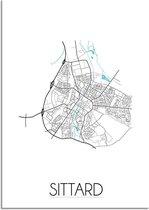 Plattegrond Sittard Stadskaart poster DesignClaud - Wit - A4 + fotolijst wit