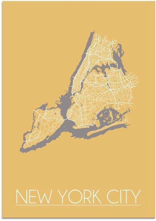 Plattegrond New York City Stadskaart poster DesignClaud - Geel - A4 poster