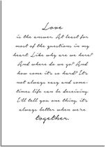 DesignClaud Love is the answer - Tekst poster - Wanddecoratie - Zwart wit poster A4 poster (21x29,7cm)
