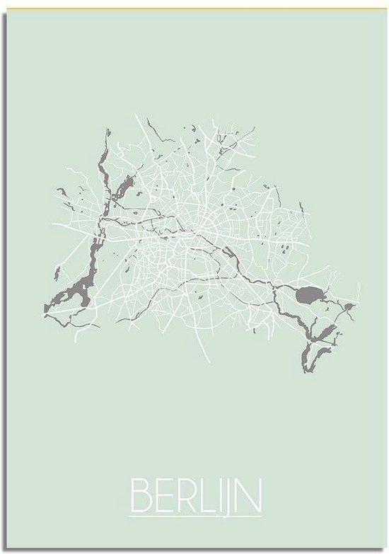 DesignClaud Berlijn Plattegrond poster Pastel groen A3 poster (29,7x42 cm)
