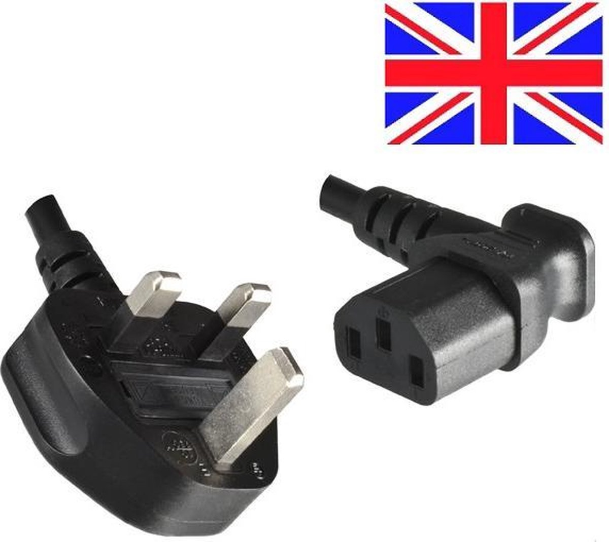 Good Connections Apparaatsnoer met haakse C13 plug en haakse Britse (type G) stekker - 3x 0,75mm / zwart - 2 meter