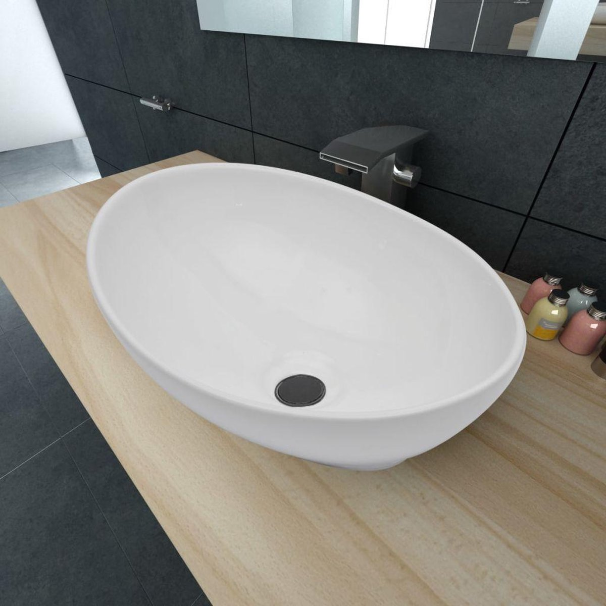 Luxe keramische wasbak ovaal 40 x 33 cm (wit)