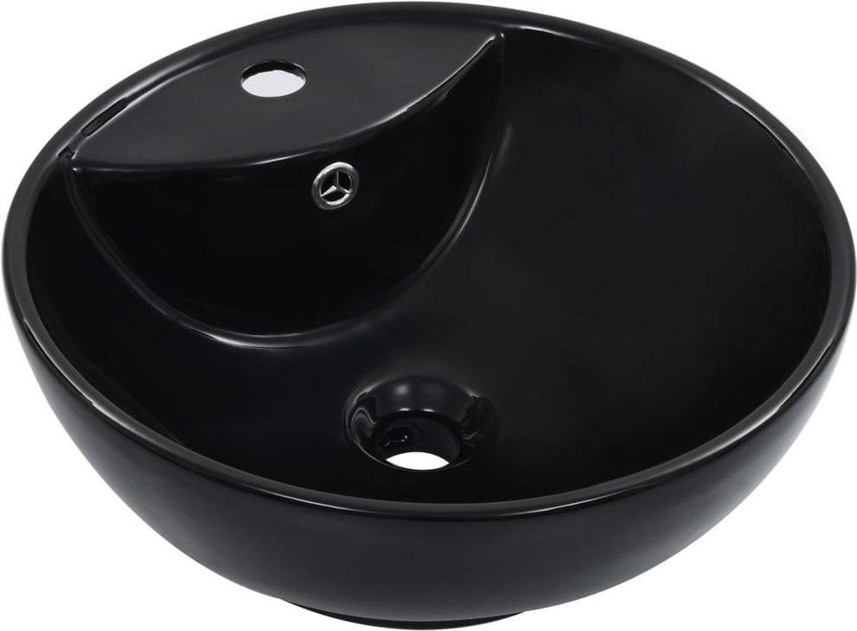 vidaXL Wastafel met overloop 46,5x18 cm keramiek zwart
