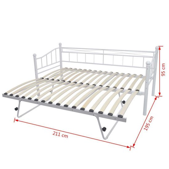vidaXL Bedframe staal wit 180x200/90x200 cm - vidaXL