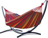 Hangmat met standaard – 2 persoons – frame grafiet – doek rood – Potenza