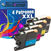 TIto-Express PlatinumSerie 4x HP LC223 /LC225/LC227 XL alternatief voor Brother LC223 LC225 LC227 black cyaan magenta yellow