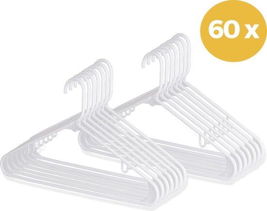 LifeGoods 60 Kunststof Kledinghangers - Plastic Kleer Hanger met Haakjes en Broeklat - Dames/Heren/Volwassenen - Voor Riem/Rokje/Pak/Broeken/Mantel/Blouse - Wit