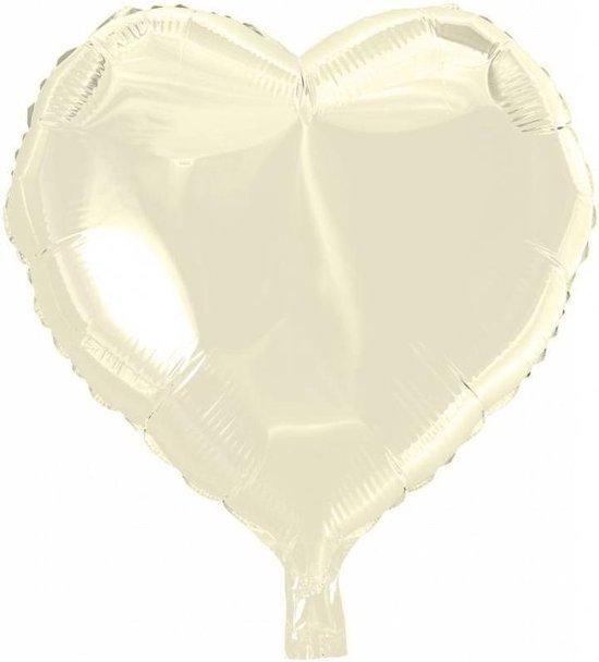 Helium Ballon Hart Ivoor 46cm leeg
