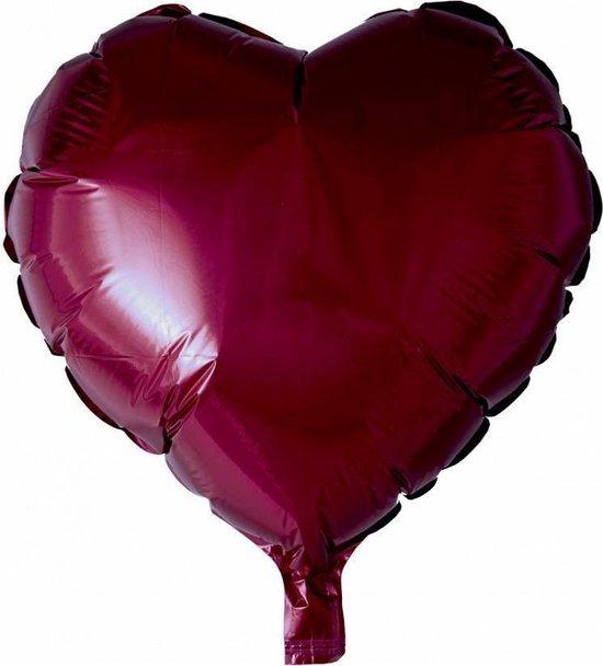 Helium Ballon Hart Bordeaux Rood 46cm leeg