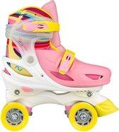 Nijdam Rolschaatsen Verstelbaar Hardboot - Rainbow Roller - Roze/Geel/Wit - 30-33