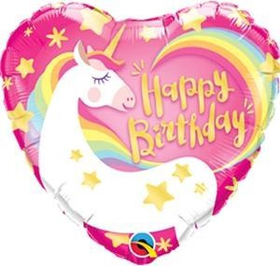 Folieballon Eenhoorn Happy Birthday
