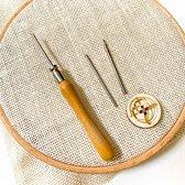 Punch Naald Set met meerdere maten naalden | Nieuw model naald voor punch needle embroidery met borduurgaren en dunne wol of haakkatoen Punch naald Set