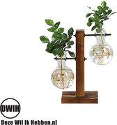 Houten/glazen vintage vaas met dubbel glas --- Geschikt voor stekjes, bloemen, waterplanten (Hydroponie)