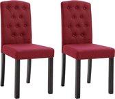 Eetkamerstoelen met Knopen Stof Rood 2 STUKS Eetkamer stoelen Extra stoelen voor huiskamer Dineerstoelen Tafelstoelen Barstoelen