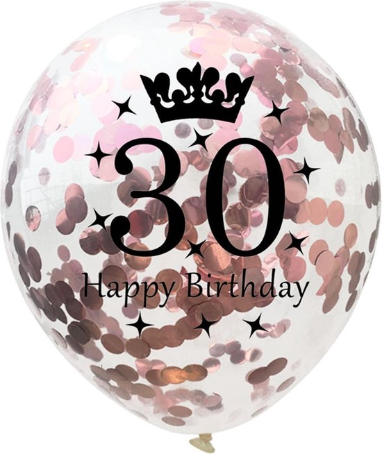 Confetti ballon | verjaardag | set van 5 | metallic rose | happy birthday 30