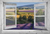 Tuindoek doorkijk - 130x95 cm - openslaand wit venster  met lavendel   - tuinposter - tuin decoratie - tuinposters buiten - tuinschilderij