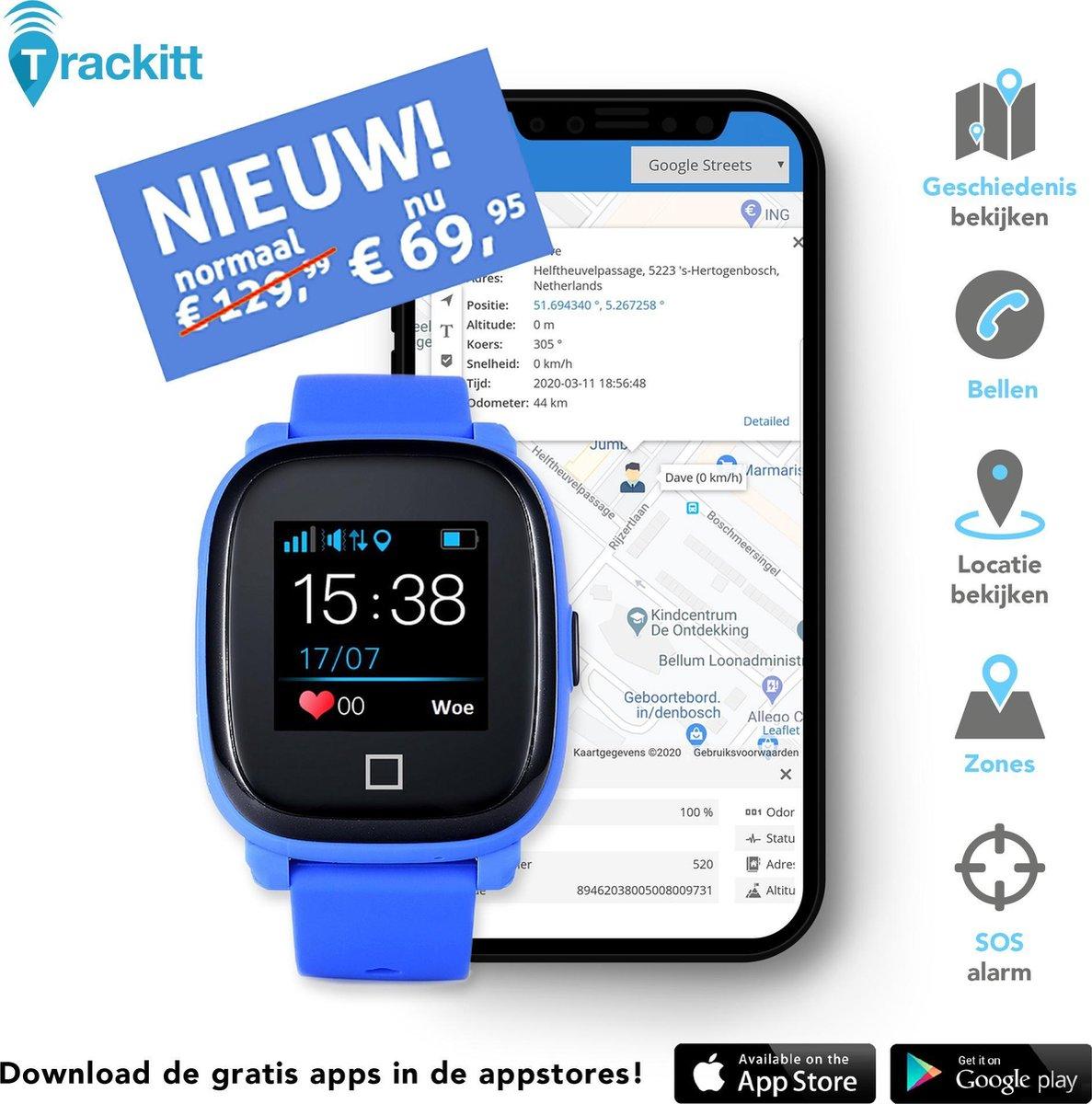 Personenalarmering SOS-Noodknop GPS tracker horloge voor kinderen met APP en Simkaart - Compleet geinstalleerd! - Blauw