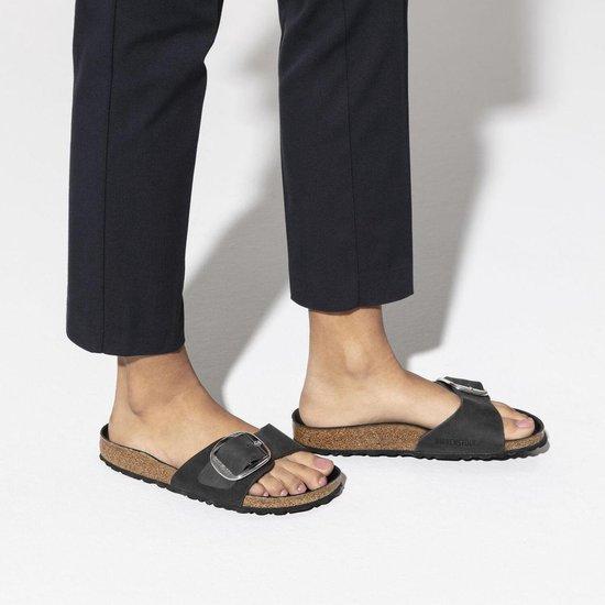 Birkenstock Madrid Big Buckle Oiled Leather Zwart Reguler fit Dames Slippers – maat 37