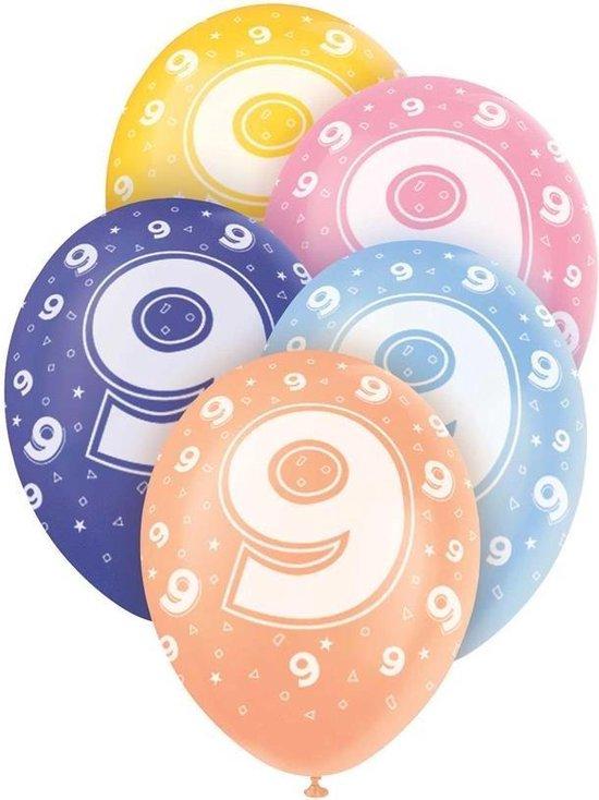 Haza Original Ballonnen 9 Jaar Multicolor 30 Cm 5 Stuks