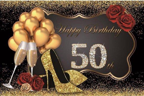Verjaardag - Versiering - Wanddoek - Banner van Polyester - 120cm (Breed) x 80cm (Hoog) - Vrouw - 50 jaar - Sarah - Rozen - Ballonnen - Pumps