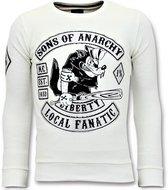 Local Fanatic Rhinestones Sweater Heren - Sons of Anarchy Trui - Wit - Maten: M