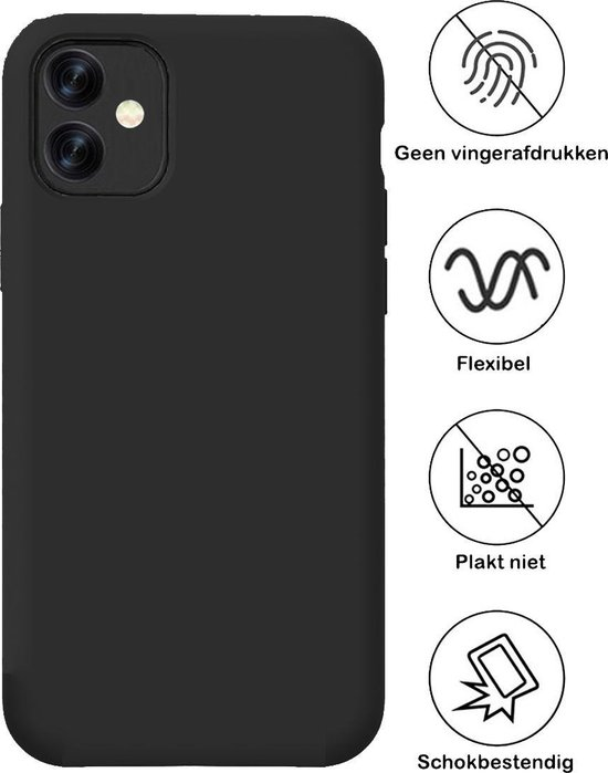 iPhone 11 Hoesje Siliconen Case Hoes Back Cover TPU - Zwart