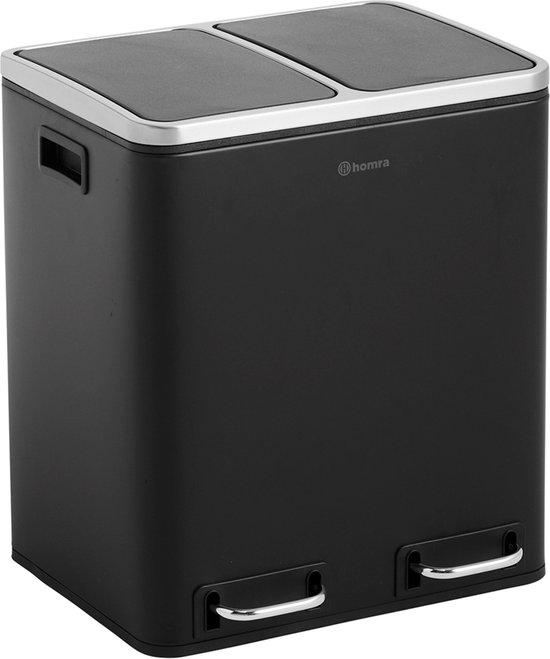 Homra BLINQ afvalscheiding prullenbak met 2 vakken - 2 x 15 L inhoud - Duo pedaalemmer in Zwart - Afvalemmer 30 Liter