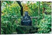 Dibond –Buddha in het Bos– 60x40 Foto op Aluminium (Wanddecoratie van metaal)
