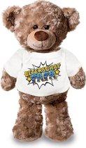 Beterschap papa pluche teddybeer knuffel 24 cm met wit pop art t-shirt -...