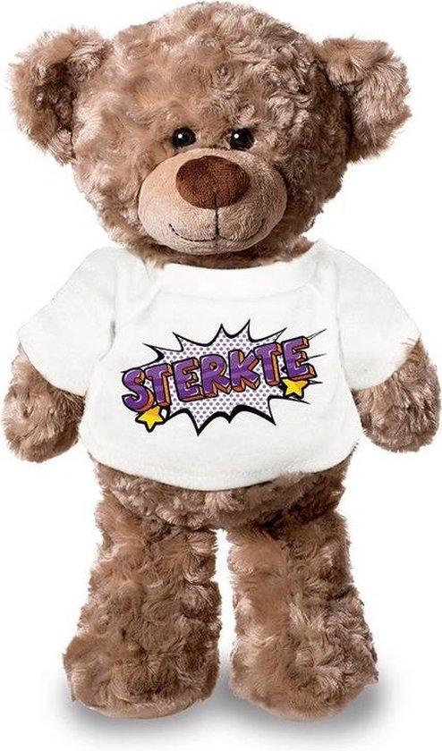 Sterkte pluche teddybeer knuffel 24 cm met wit pop art t-shirt - sterkte / cadeau knuffelbeer