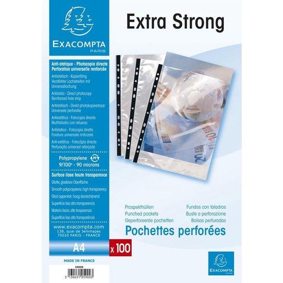 Pak van 100 geperforeerde showtassen gladde PP 9/100ste - A4, Transparant