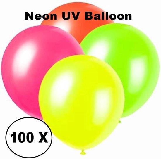 Neon UV ballonnen - 100 stuks - 4 kleuren